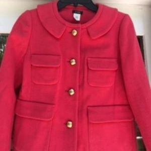 J. CREW Pink Lined Wool Swing Jacket Sz.  2